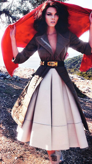 Love this look: Skirt and scarf by LOUIS VUITTON, worn with a coat by CELINE, a belt by HERMES and boots by FENDI. Photo by Phil Poynter for German Vogue September 2010.