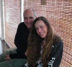 Steve with me after a training with no make-up and due to all the sweating with curly hair.