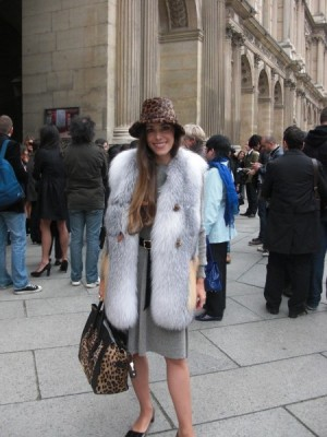 Me today totally excited at the Cour Carré du Louvre a few minutes before the start of the Louis Vuitton show