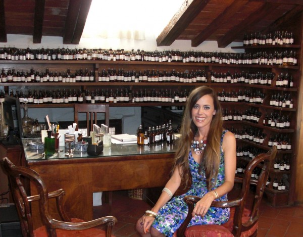 In the atelier in front of Villoresi's library of scents with over 2000 essences