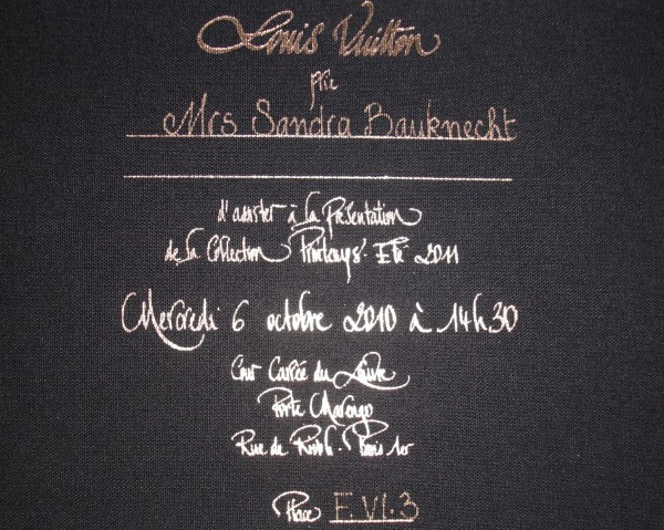 My invitation to Louis Vuitton's S/S 2011 show.