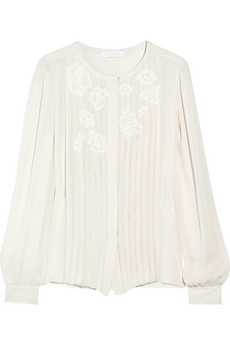 Chloé Silk knife-pleated blouse