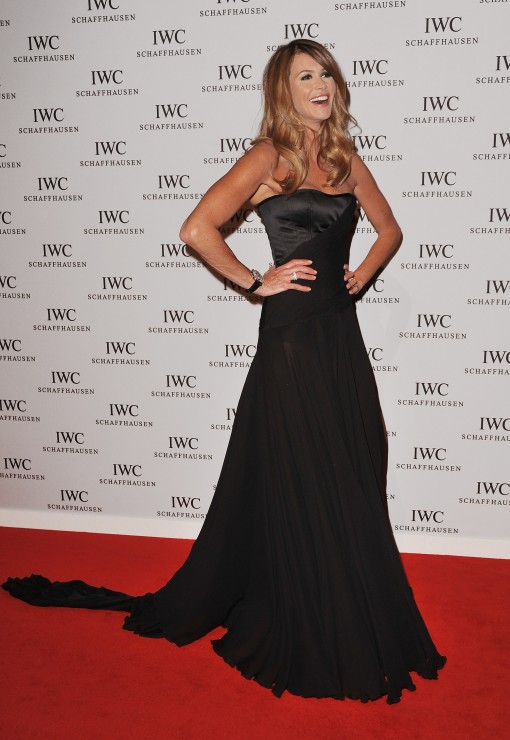 ...on the red carpet in her floor sweeping black gown.