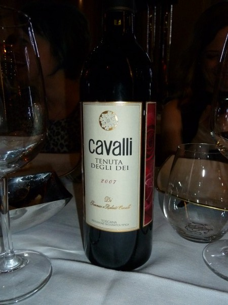 Cavalli wine was served during dinner.