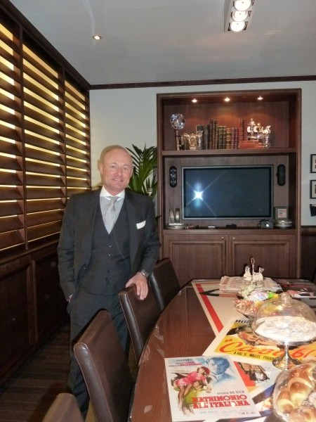 Georges Kern, CEO IWC, in his office at the booth where he welcomed the celeb friends of the brand