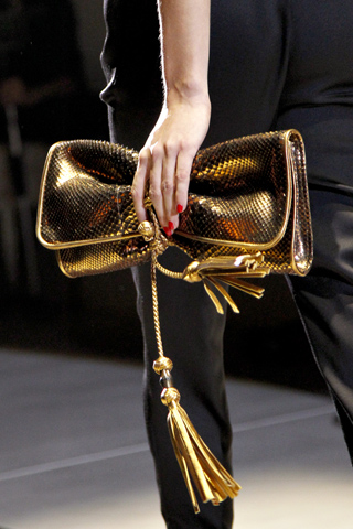 'Malika' evening bag with woven leather tassels, $1900