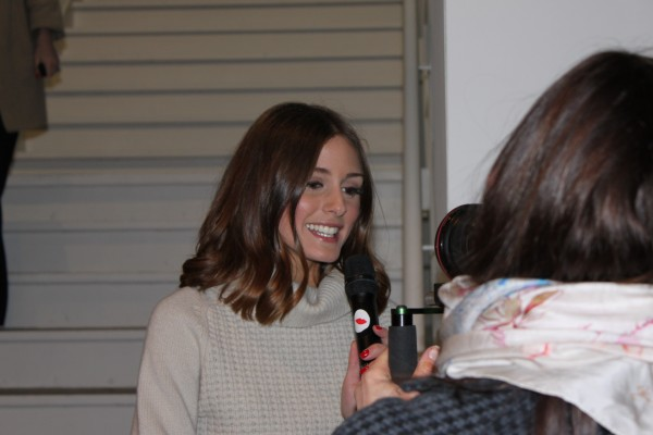 Beautiful Olivia giving an interview...