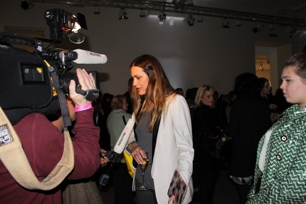 Yasmin Le Bon giving an interview...