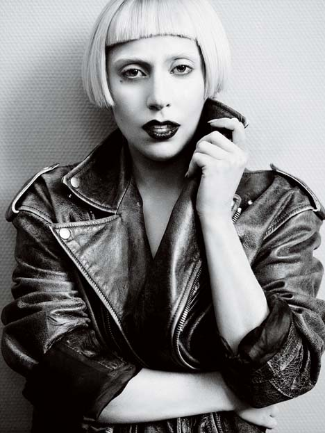 Lady Gaga in her own Hussein Chalayan leather jacket