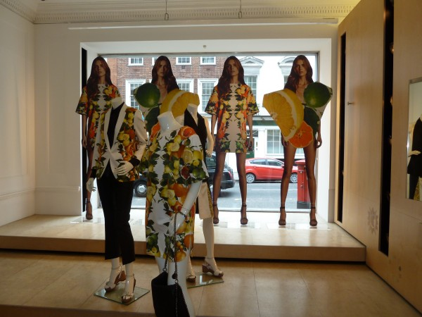 Fruity dispay at the Stella McCartney store in London