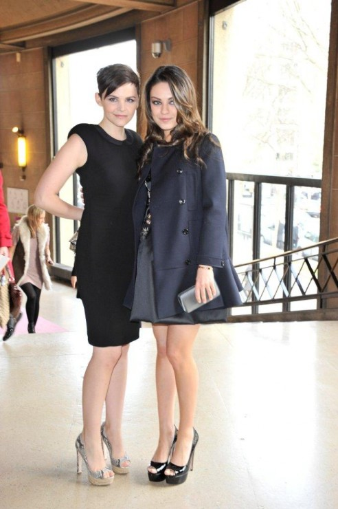 Ginnifer Goodwin & Mila Kunis, both in Miu Miu