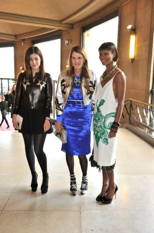 Julia Restoin Roitfeld, Anna Dello Russo, both in Miu Miu and Shala Monroque in Prada