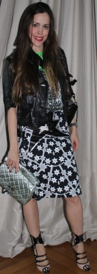 My show outfit: Skirt, top and shoes from Miu Miu's S/S 2011 collection, clutch by Chanel and leather jacket by Gucci