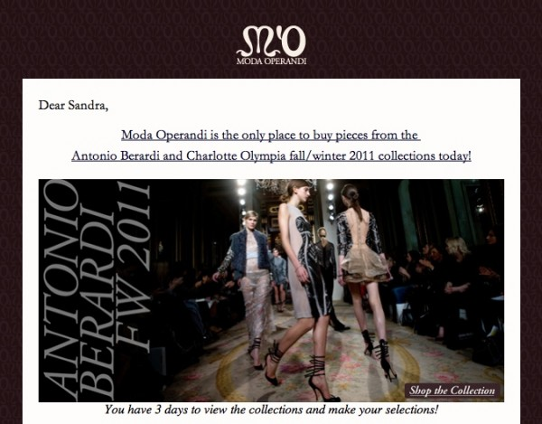 Example of an e-mail that I am receiving from Moda Operandi