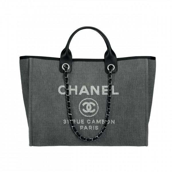 Grey cotton canvas large tote bag with leather details_Grand cabas gris en toile de coton avec détails de cuir