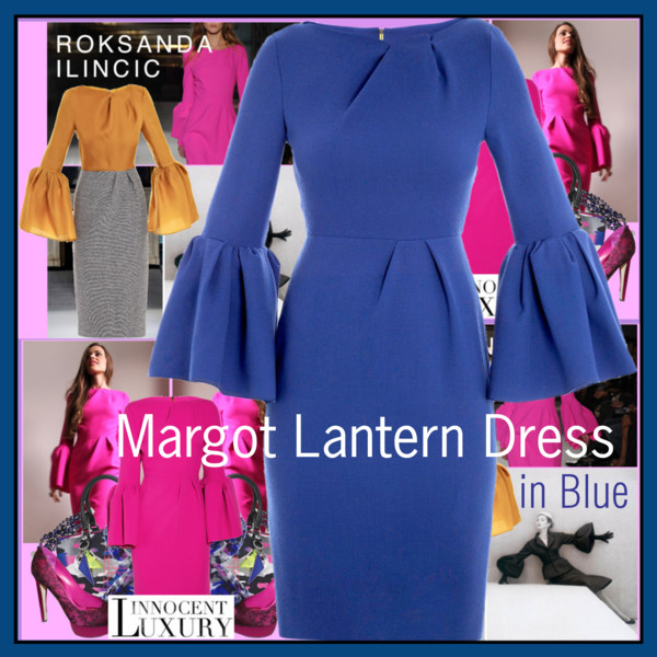 Margot Lantern Dress in Blue