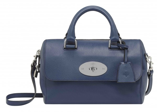 Small Del Rey in Slate Blue Grainy Print Leather