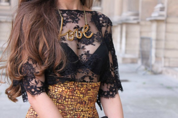 Close up - Lanvin Love nacklace- Dolce & Gabbana lace