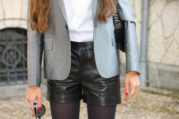 Sandra Bauknecht Saint Laurent leather Shorts Blazer 2