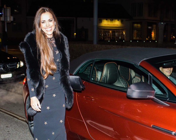 Sandra Bauknecht arriving at L'Officiel Party with Aston Martin in Alessandra Rich