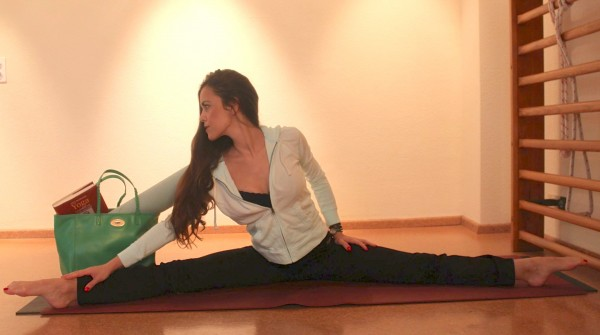 Sandra Bauknecht at Yoga with Mulberry Dorset Bag