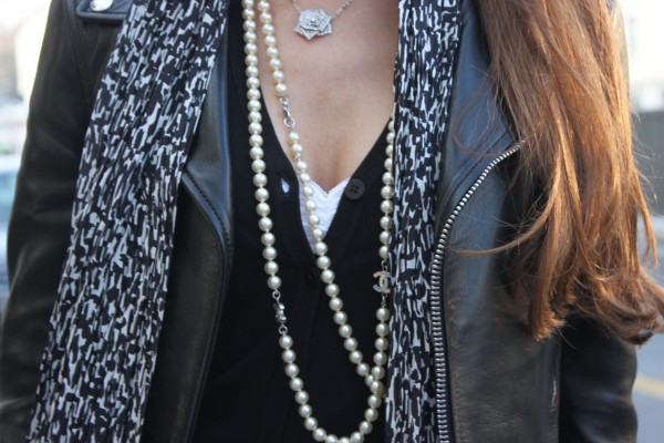 Sandra Bauknecht in Saint Laurent Biker Jacket and Chanel necklace
