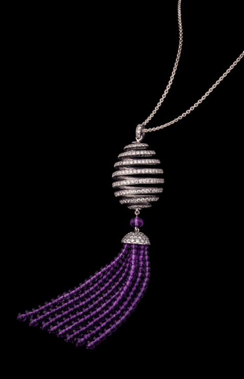 Spiral Diamond and Amethyst Tassel Pendant on black