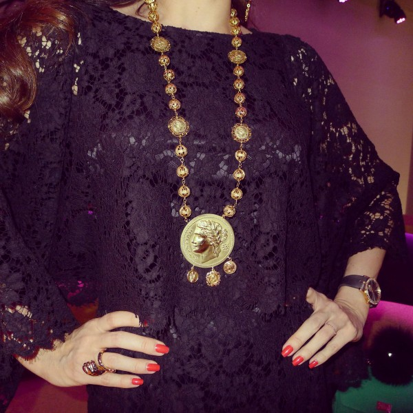 Dolce & Gabbana Lace Dress and Coin necklace