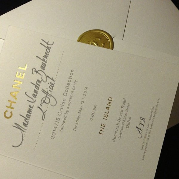 Invite Chanel Cruise Dubai