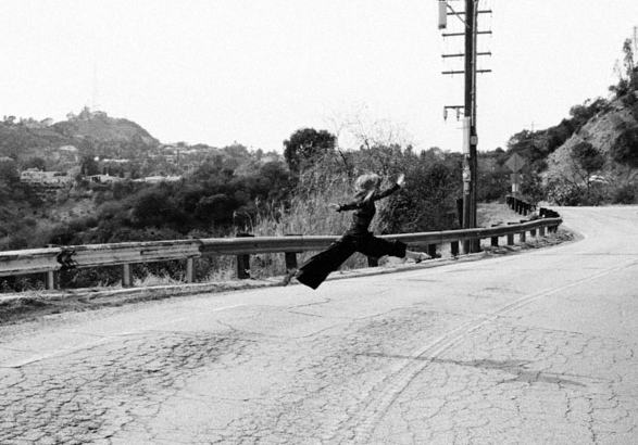 Sandra Bauknecht doing a split jump on Mulholland Drive