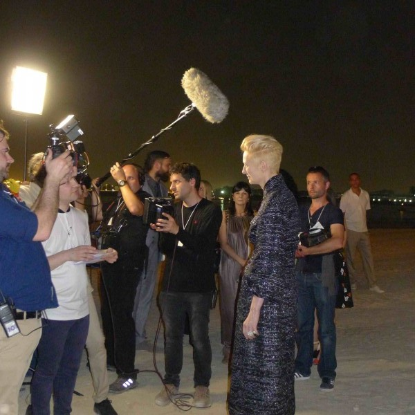 Tilda Swinton giving interviews Chanel Dubai Cruise