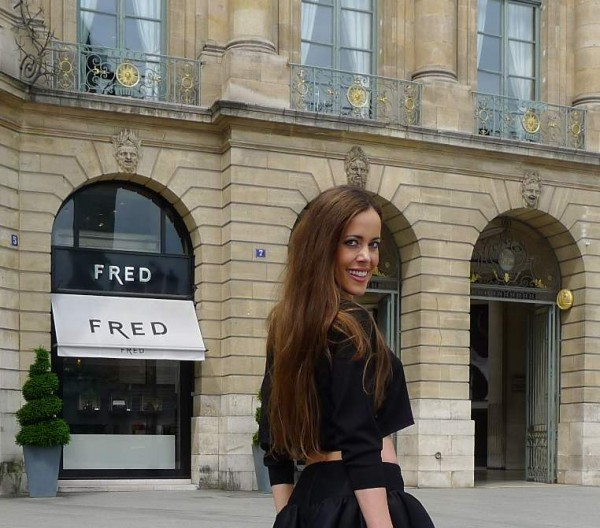 Sandra Bauknecht in Saint Laurent Top in Paris