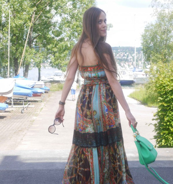 Sandra Bauknecht in long Bohemian Dolce & Gabbana Dress 1