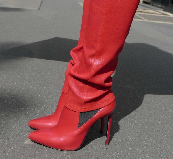 Saint Laurent Red Shoes and Pants