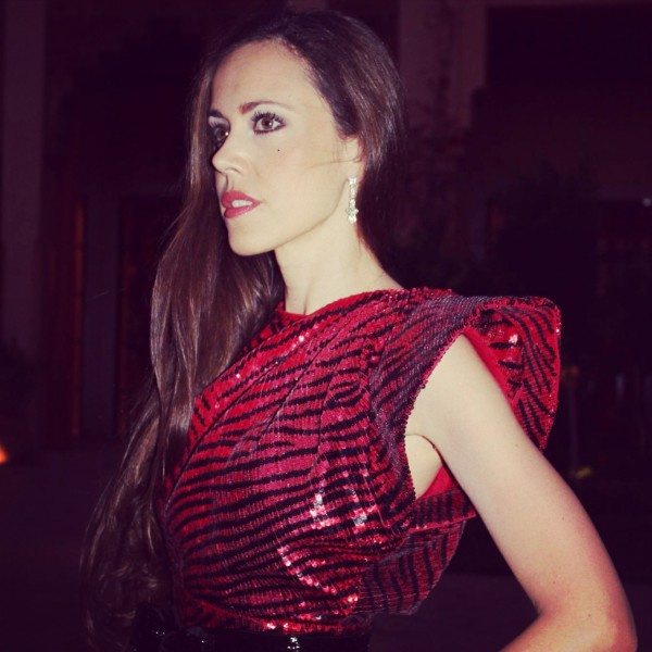 Sandra Bauknecht in Marrkesh in sequined Saint laurent dress
