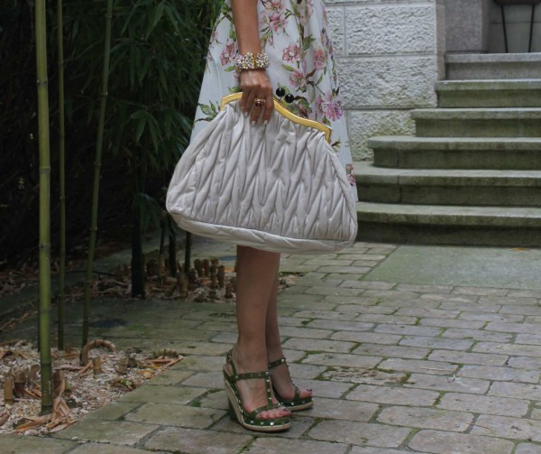 Sandra Bauknecht with oversized miu miu clutch