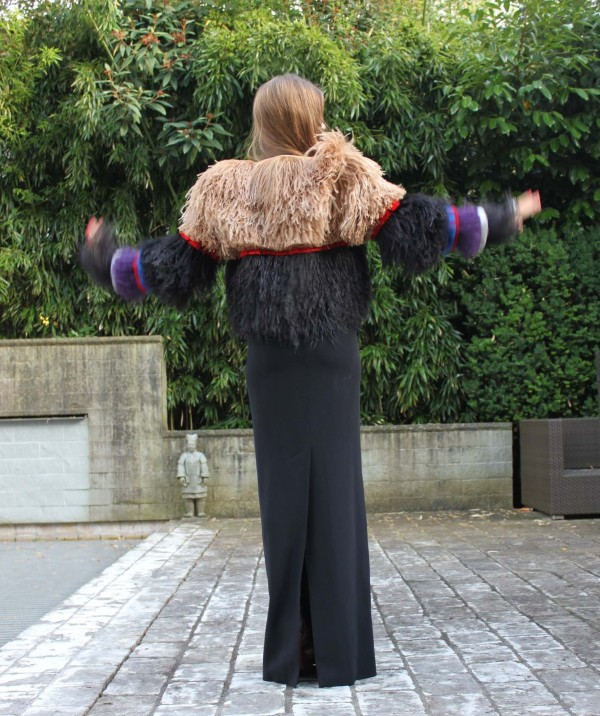 Sandra Bauknecht in Givenchy Feather jacket