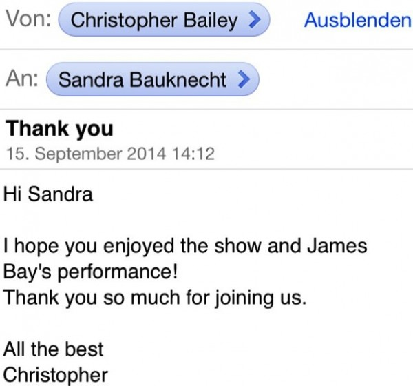 Thank you Christopher Bailey