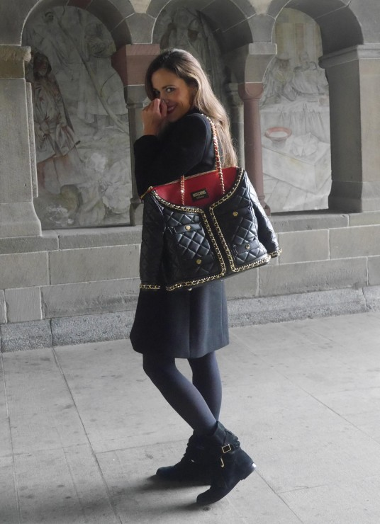 Sandra Bauknecht in Moschino Bag and Saint Laurent Coat