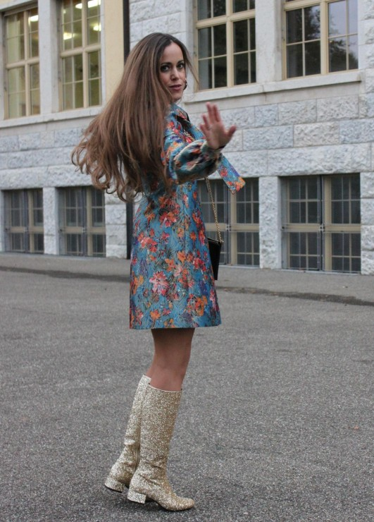 Sandra Bauknecht in Saint Laurent Brocade Dress5
