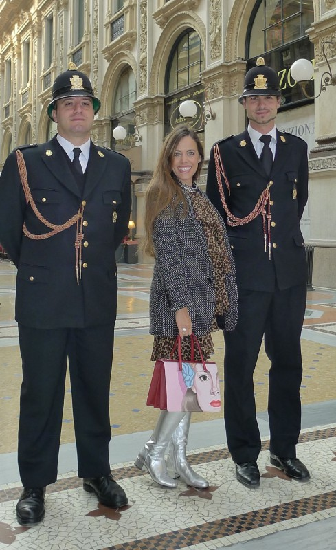 Sandra Bauknecht in Milano with Police Men