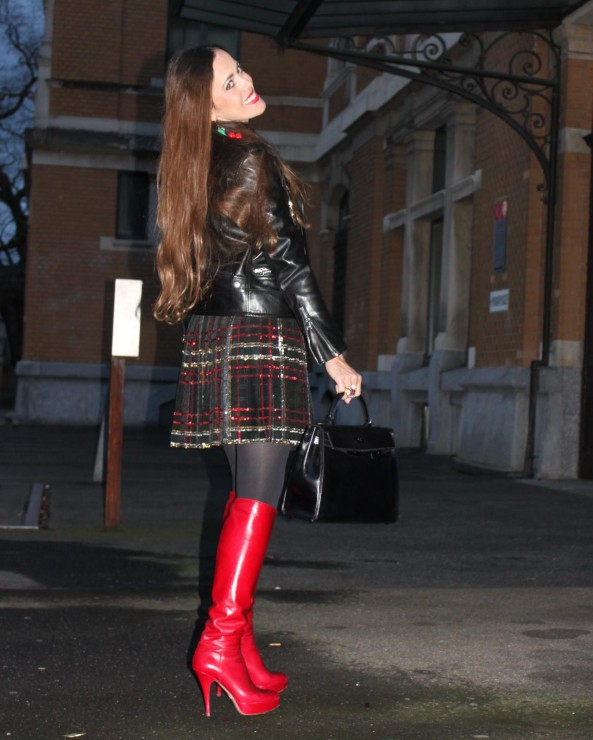 Sandra Bauknecht in Saint Laurent Sequined Skirt and Leather Jacket