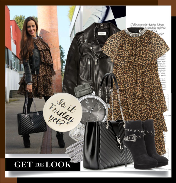 Sandra Bauknecht in Saint laurent Leo Dress und Biker jacket