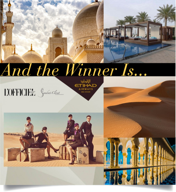 Winner of Etihad Airways Competition with L'Officiel Switzerland and Sandra's Closet