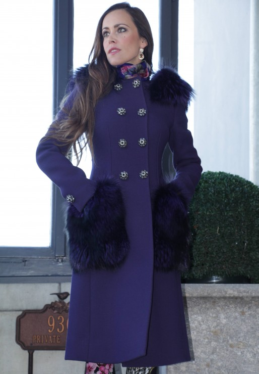 Sandra Bauknecht in Purple Dolce & Gabbana Coat