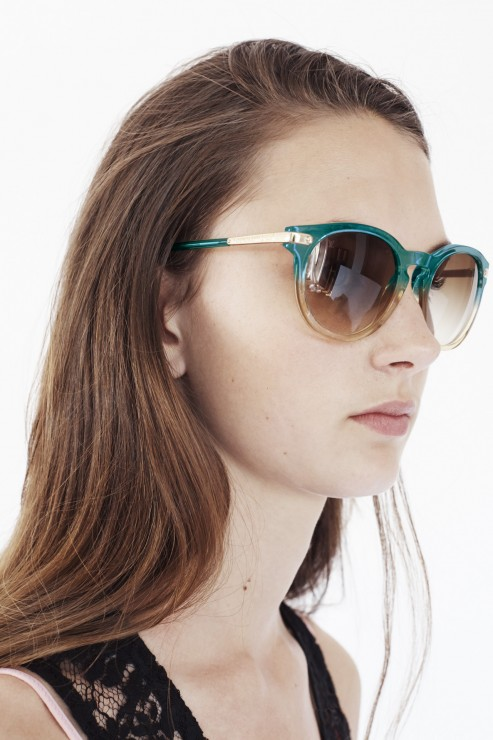 Turquoise sunglasses in metal & acetate