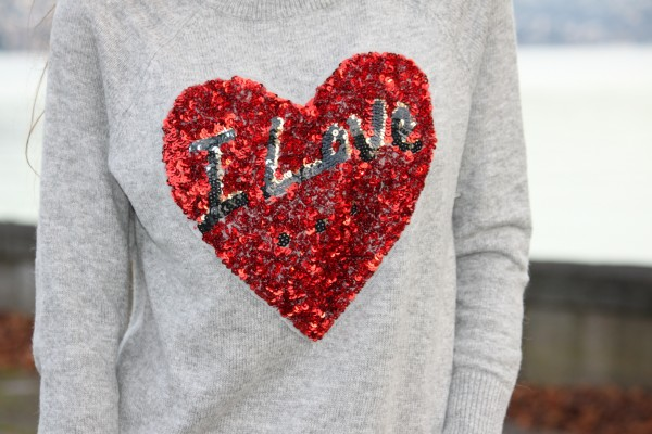 I Love Sequined Sweater H&M
