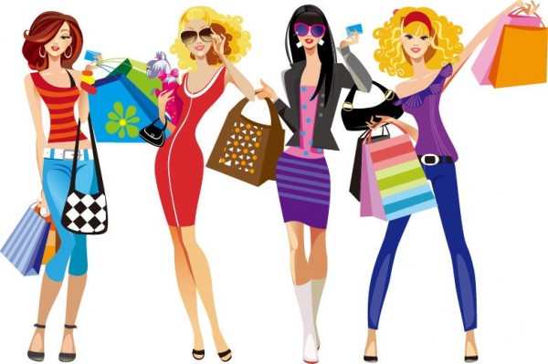 Shopping-Girls-Vector-Illustration