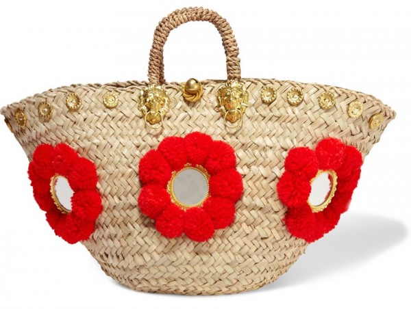 9979f9ce684 Sicilian embellished straw basket by Muzungu Sisters. LaLigne. Painted woven  straw tote ...