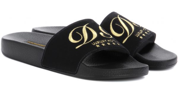 5a76ddf5bd5d Aren t those Dolce   Gabbana velvet hotel slides hilarious  A funny sense  of humor…